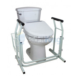 Bidet seat on toilet with safety rails