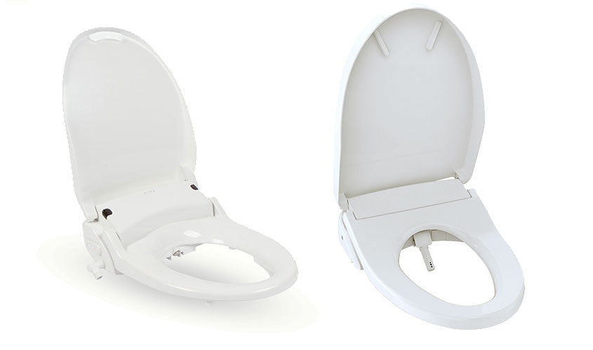 Alpha and Brondell Bidet side by side, with open lids depicting seating area