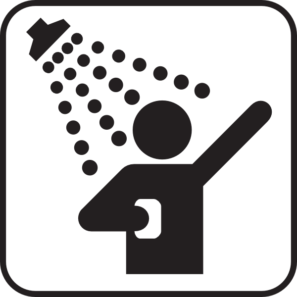 symbol of a human figure showering