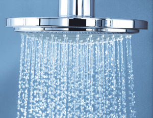 close up of shower head spraying water