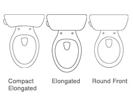 diagram of compact elongated, elongated, and round toilet side by side comparison