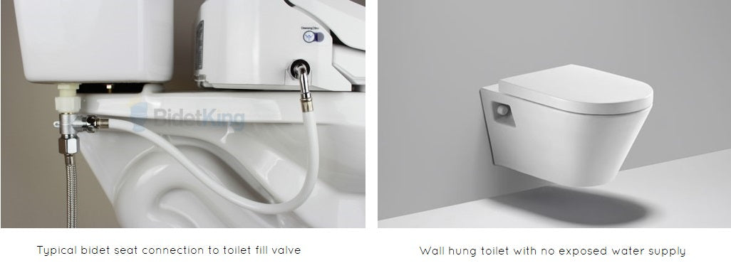 To the left, bidet hose and t-valve configuration. To the right, Wall hung toilet.
