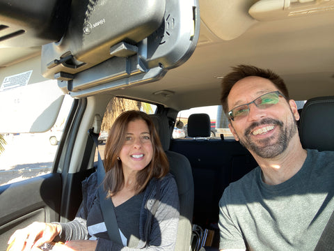 Rich Luhr and Cheryl Toth in their truck co-founders of Ultimate RV Products