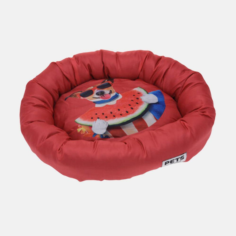 Round Pet Bed red
