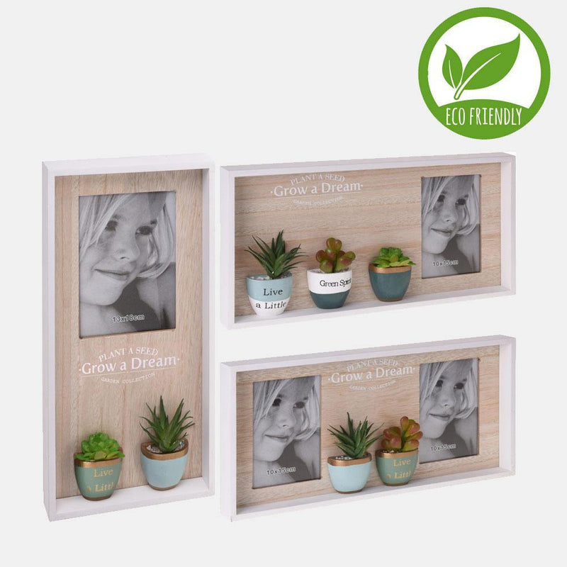 Photo Frame Wood With Artificial Plants