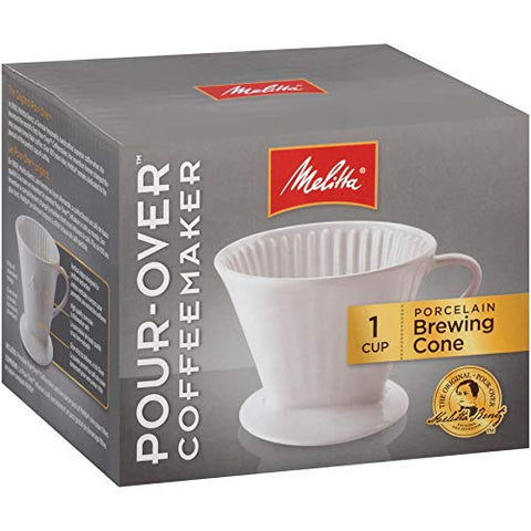 Melitta Porcelain Single-Cup Pour-Over Coffee Brewer, White (Pack of 4)