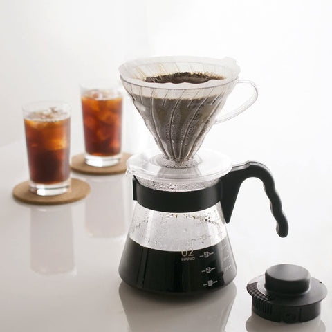 Hario Pour Over Starter Set with Dripper, Glass Server Scoop and Filters, Size 02, Black