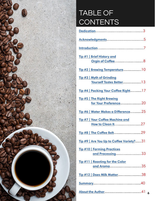 Coffee Science Table of Contents