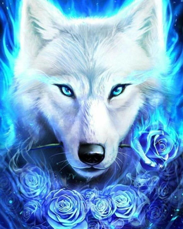 Blue Fire Icy Wolf