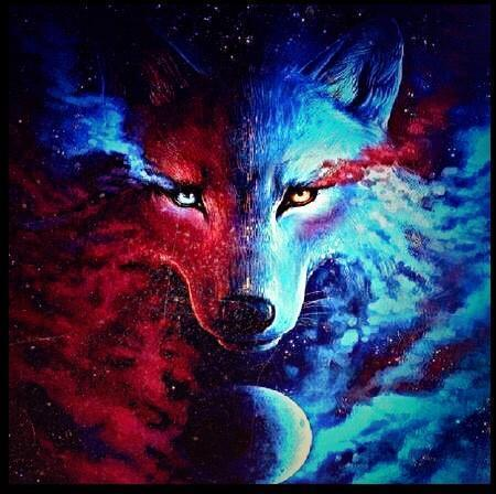 Blue and Red Wolf