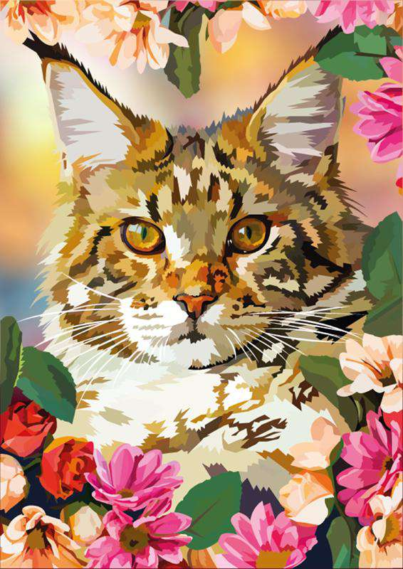 Cat with Flowers