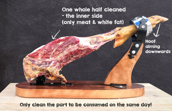 One whole half cleaned - the inner side (only meat & white fat)