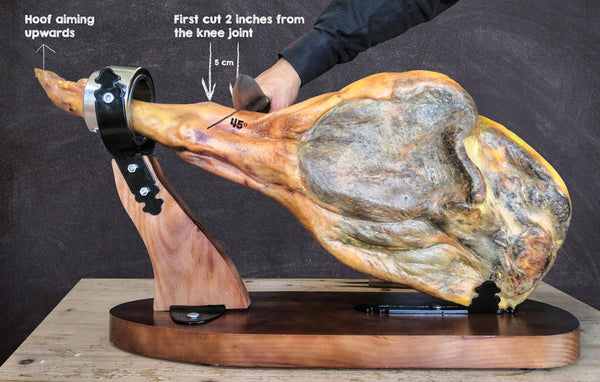 fixing jamon in the stand