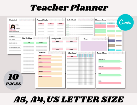 Teacher Planner Canva Template (OK for Commercial Use)