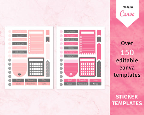 Planner Stickers Canva Template Bundle (OK for Commercial use)