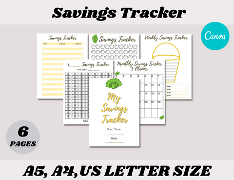 Savings Tracker Canva Template (OK for Commercial Use)