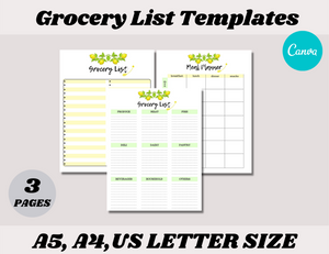 Grocery List Canva Template Bundle (OK for Commercial Use)