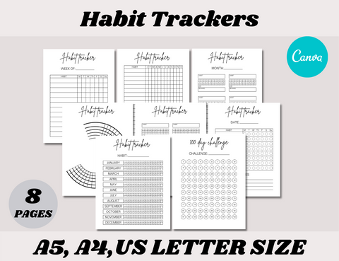 Habit Tracker Canva Template (OK for commercial use)