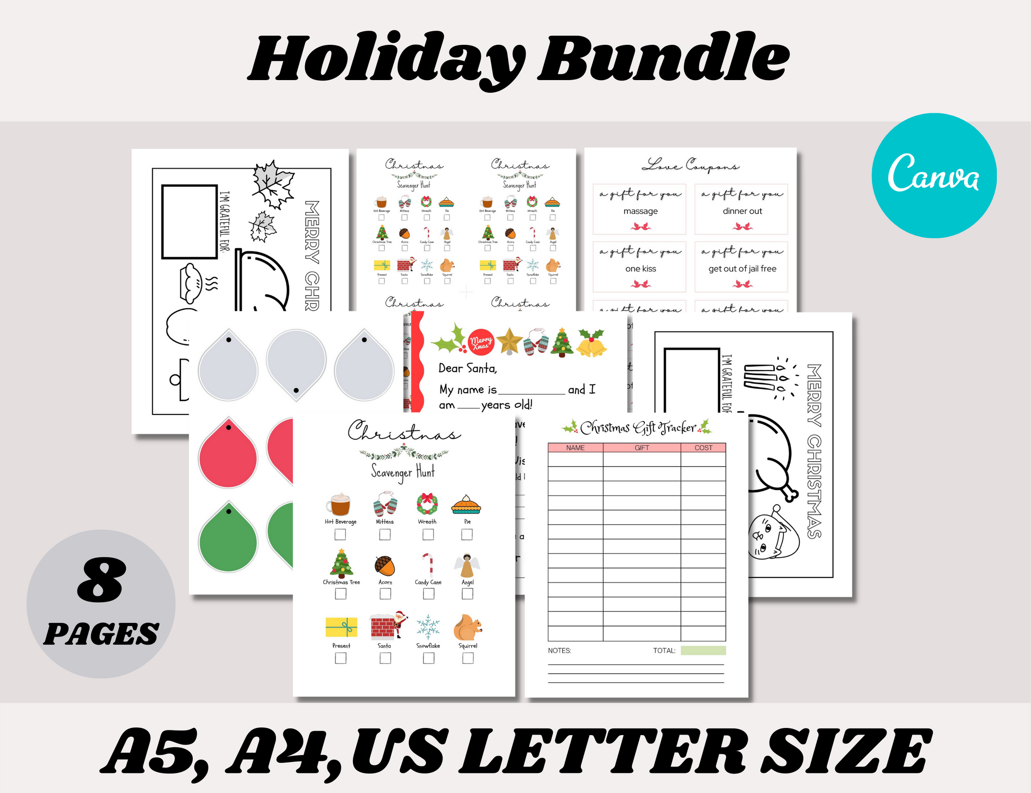 Holiday Canva Template Bundle (OK for commercial use)