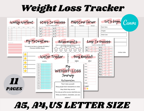 Weight Loss Tracker Canva Template (OK for Commercial Use)