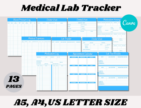 Medical Lab Tracker Canva Template (OK for Commercial use)