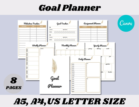 Goal Planner Canva Template (OK for Commercial Use)