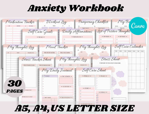 Anxiety Journal Workbook Canva Template (OK for Commercial Use)
