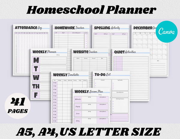 Homeschool Planner Canva Template (OK for Commercial Use)