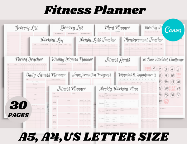 Fitness Planner Canva Template (OK for Commercial Use)