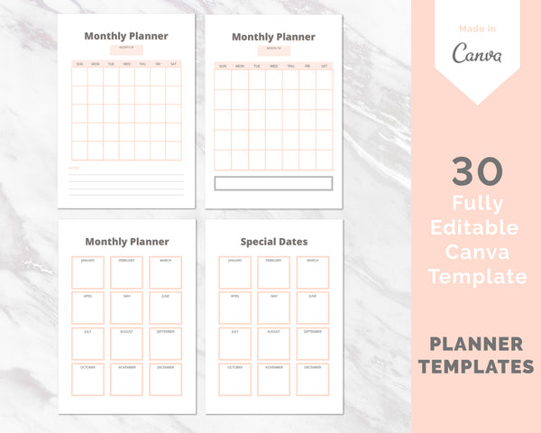 Planner Insert Canva Template Bundle (OK for Commercial use)