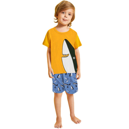 Toddler Kid Boy Cartoon Shark T-Shirt Tops+Print