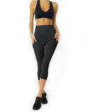High Waisted Yoga Capri Leggings - Slate Grey