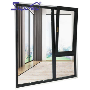 Superwu 2021NFRC windows 80 micron powder coated top quality aluminium double panel french casement window with insect screen