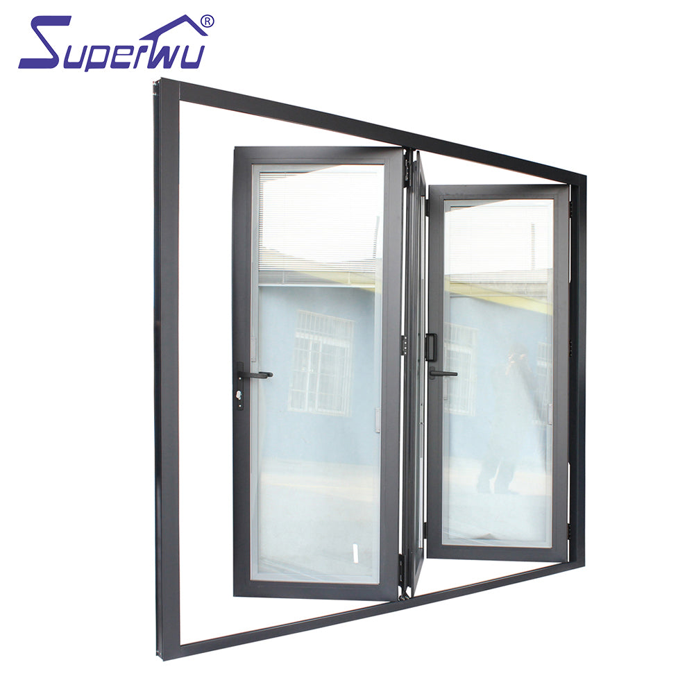 Superwu 2021Custom size aluminium frame bi-folding door with three panels with built-in blind retractable flyscreen available