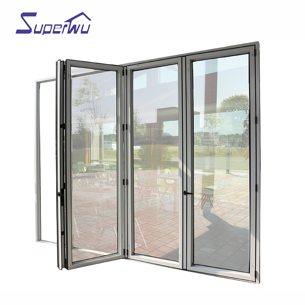 Superwu 2021Apartment entrance doors aluminum alloy folding mosquito screen door