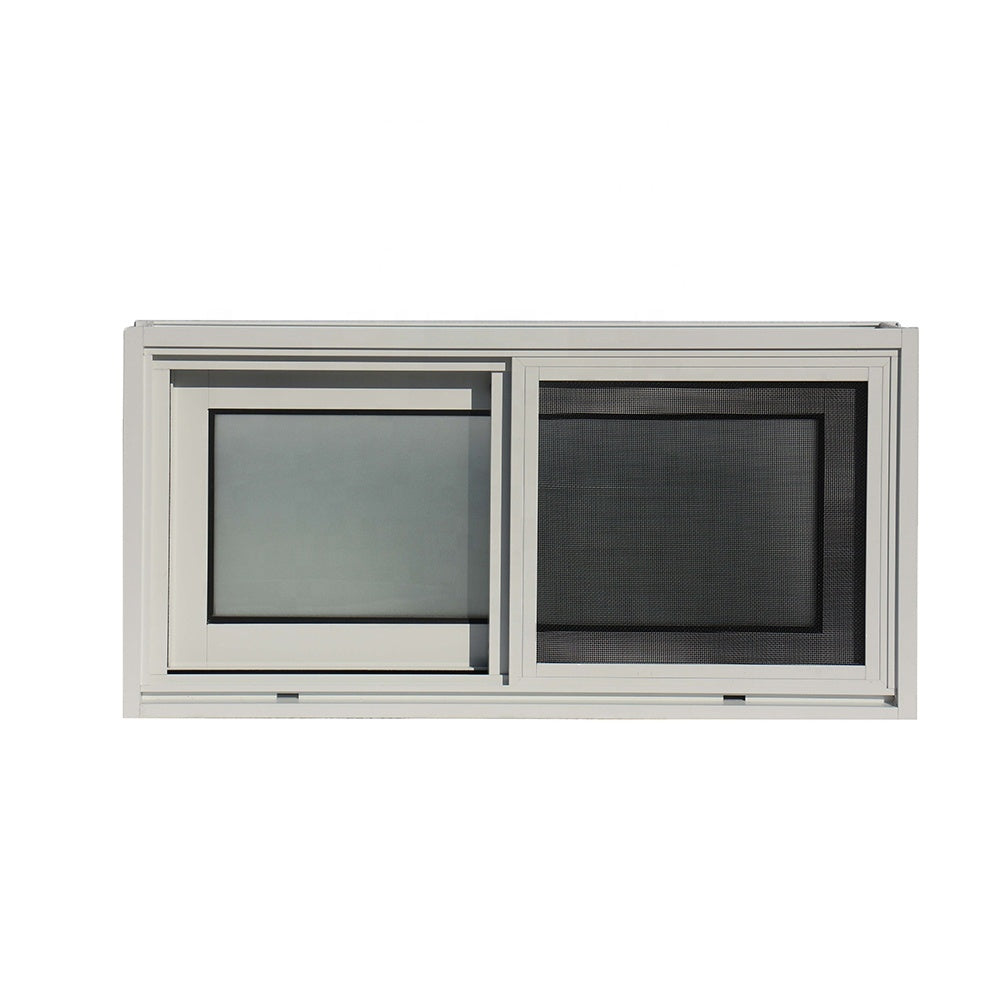 Superwu 2021Aluminum sound proof double toughened frosted glass sliding windows with fly net windows