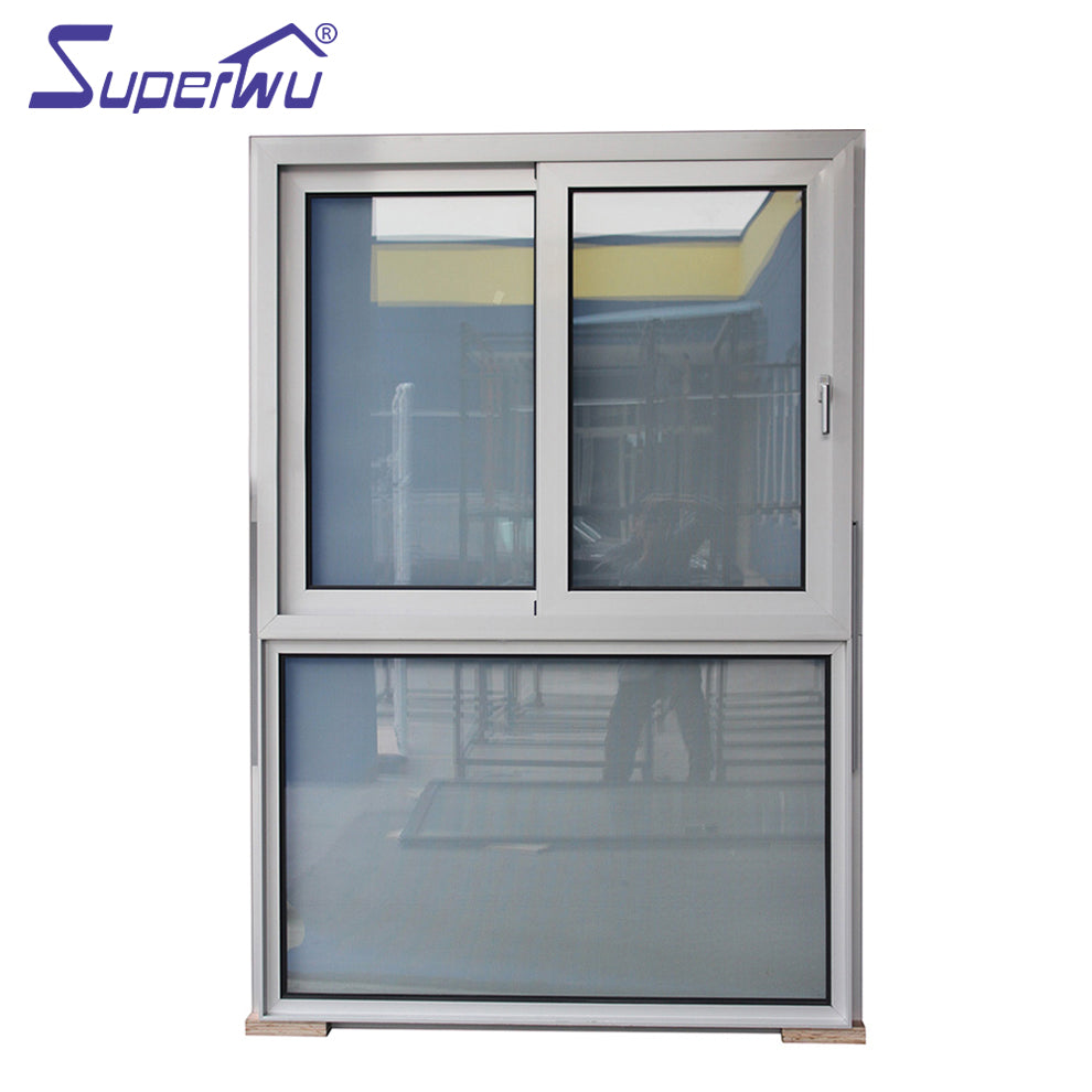 Superwu 2021Aluminum sliding window top design commercial style doule glazed