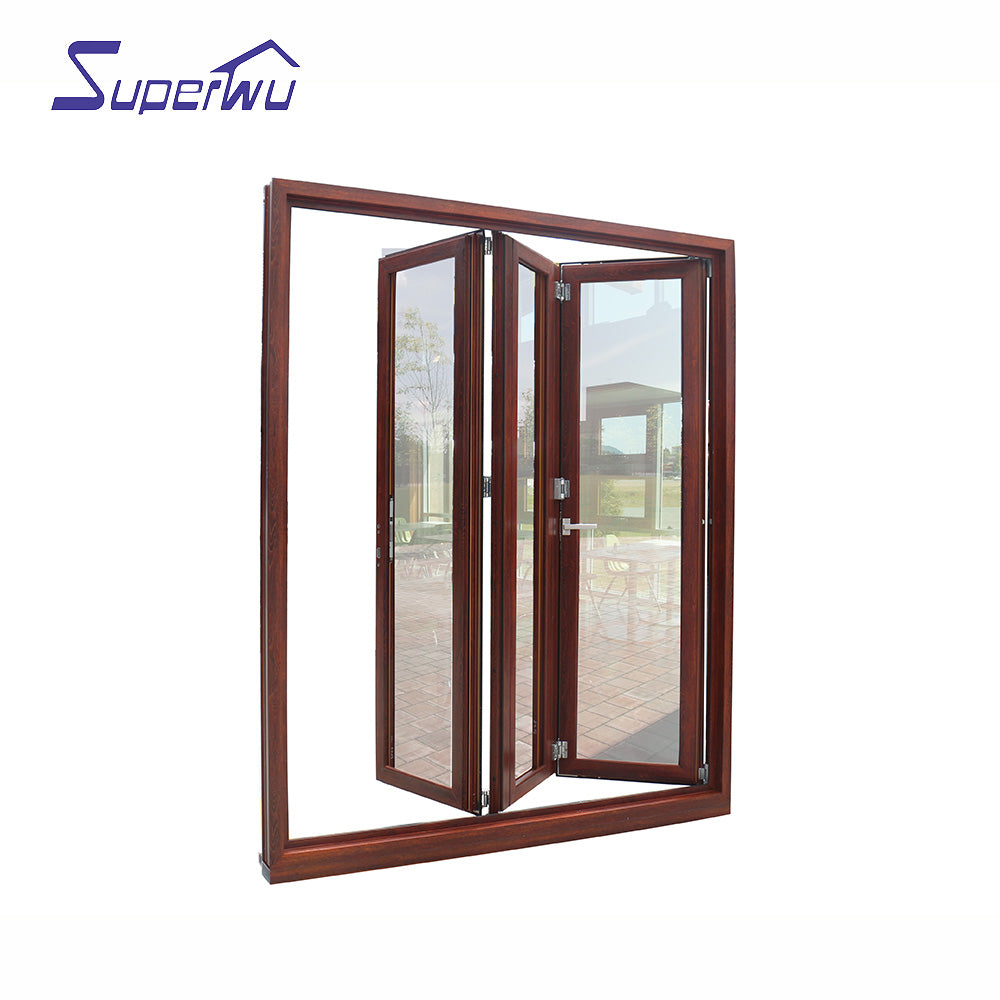 Superwu 2021Nafs American Standard Aluminum Glass Door/folding Door System With Accordion Fly Screen