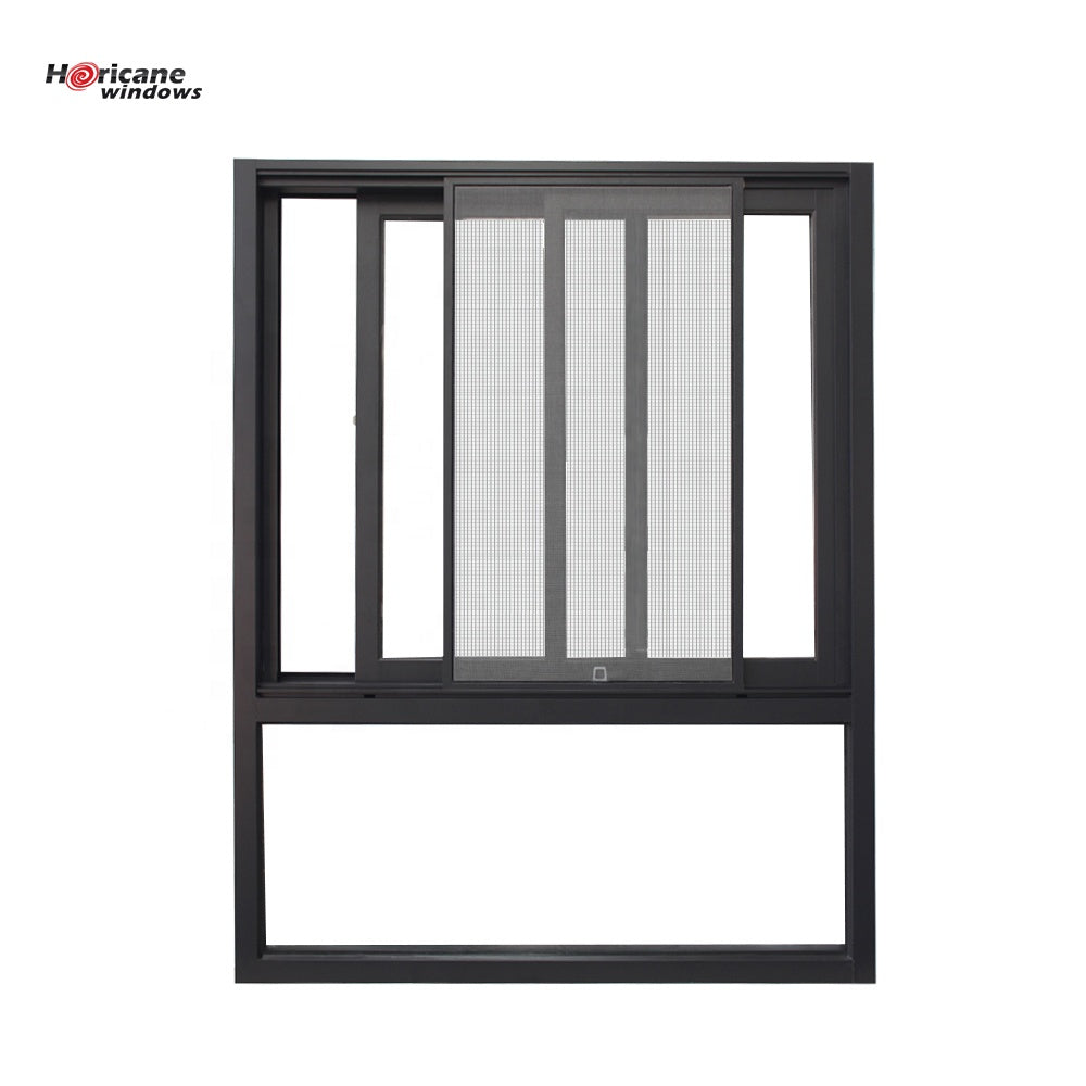 Superhouse 2021NFRC AS2047 standard affordable 2 track black aluminum frame profile sliding windows with fixed panel window