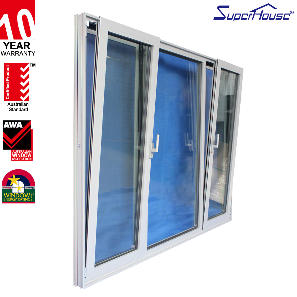 Superhouse 2021USA Standard casement windows aluminum frame double glass tilt turn aluminum window