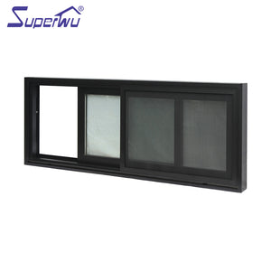 Superwu 2021Newest design frame aluminium windows standard sliding window dimensions tempered glass panels for house