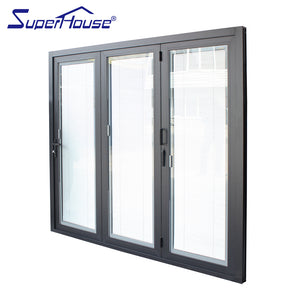 Superhouse 2021AS2047 NFRC AAMA NAFS NOA standard double glass big view aluminum folding door with blinds inside