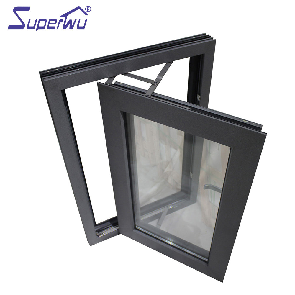 Superwu 2021Aluminum residential French windows hurricane impact soundproof windows aluminium casement window for house