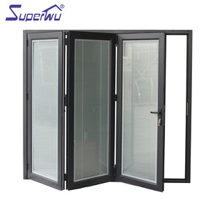 Superwu 2021Solution to Bullet Proof and Hurricane Proof High quality 440 open style aluminum folding tempered glass door