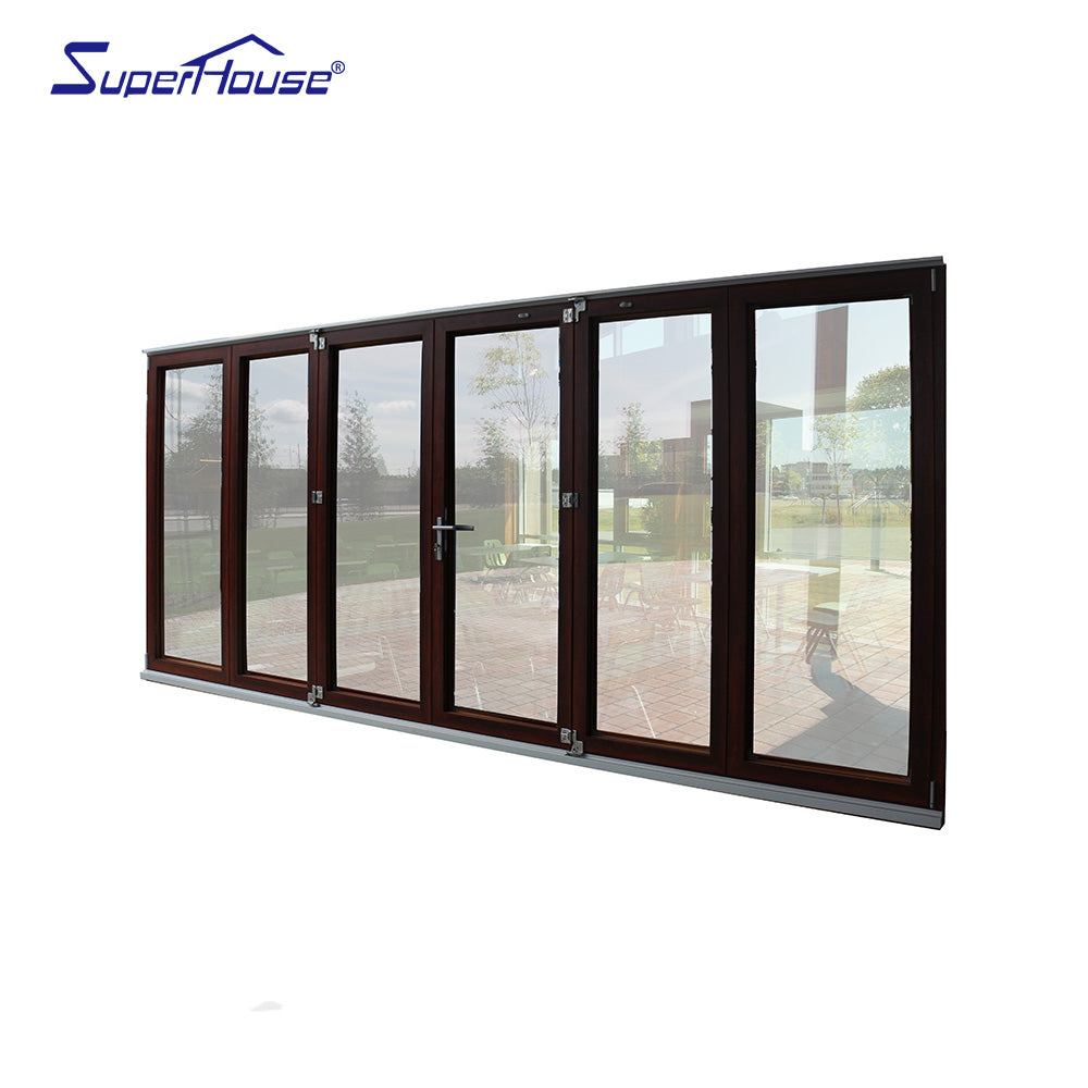 Superhouse 2021NFRC AS2047 AS2208 Standard commercial wood color double glass aluminum folding door