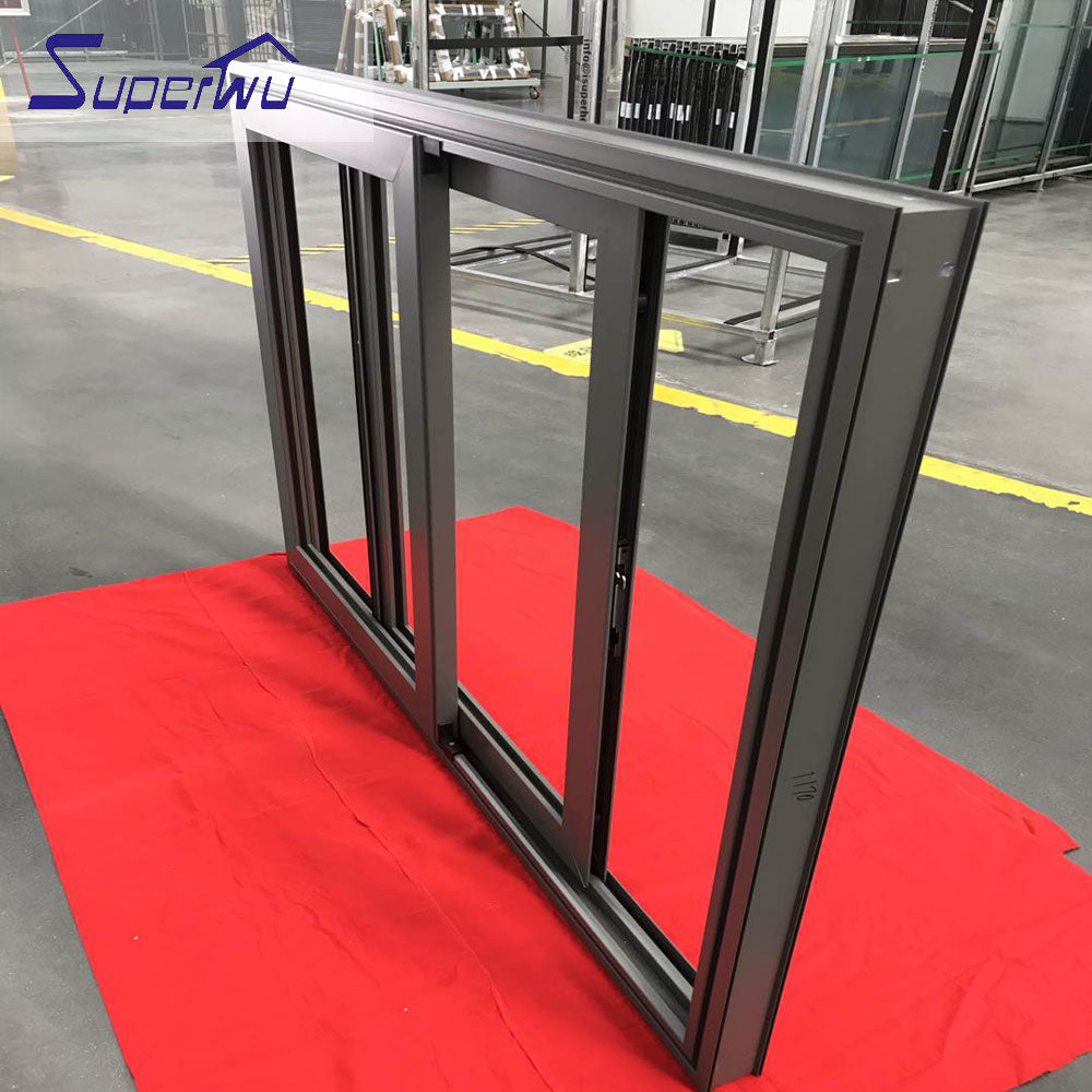 Superwu 2021AS2047 commercial aluminum window manufacturers tinted glass sliding aluminium window doors for house