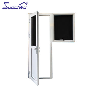 Superwu 2021New design half toughened glass half aluminum panel hinged doors aluminum glazed french doors