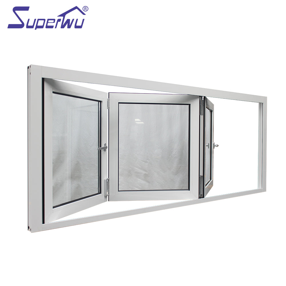 Superwu 2021Special Offer thermally broken storm alu glass windows soundproof black aluminum fold window
