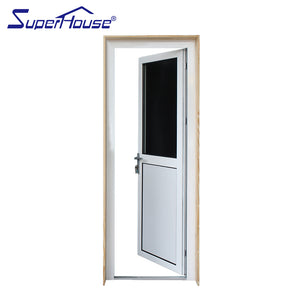 Superwu 2021New design half glass aluminum hinge door half pinch plate french door