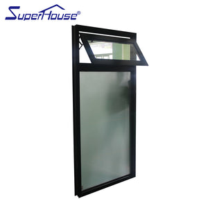 Superwu 2021Double glazed black color commercial use frosted glass awning windows Australia chain winder